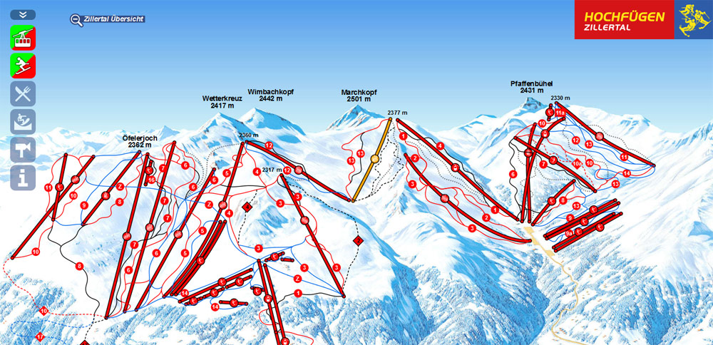 One click away from the interactive panoramic map of the ski resort Hochfügen – Hochzillertal