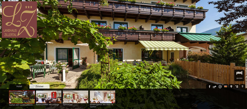 One click and you can enjoy a 360° virtual tour of the Landhaus Zillertal