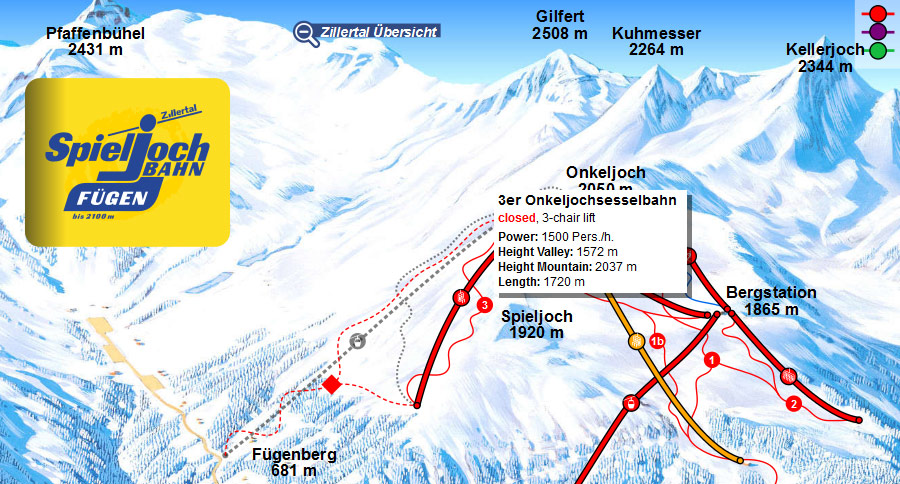 One click away from the interactive panoramic map of the ski resort Spieljoch